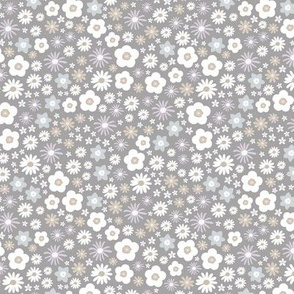 Boho wild flowers blossom flower bed with daisies buttercups and lilies garden summer liberty londen style gray neutral white
