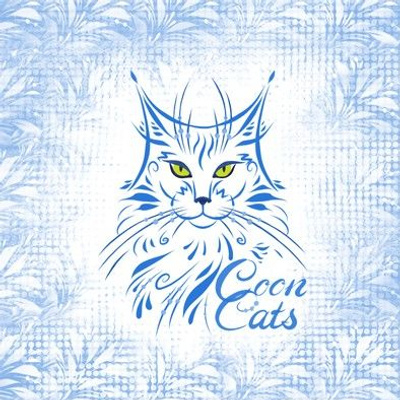 8x8 in Maine Coon Cat Embroidery Template/ coupon / Test Swatch/  in white and blue