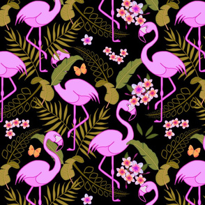 Flamboyant Flamingos #8 - black, medium/large
