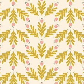 Little Blooms Offwhite-Mustard by DEINKI (Small Scale)