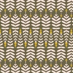Folk Leaves Olive-Rosé by DEINKI (Medium Scale)
