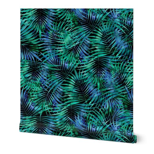 Night Tropical fern Watercolor Blue and Green on Black Large scale