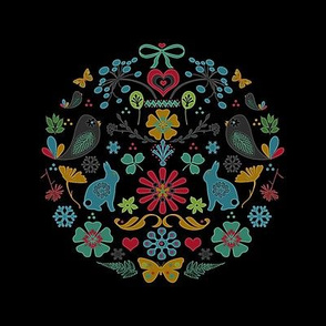 embroidery dark floral
