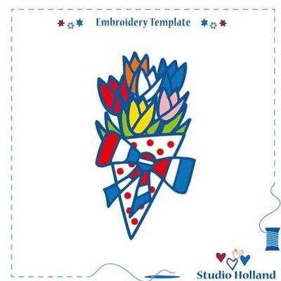 "Dutch Tulips Studio Holland Embroidery Template 6"""