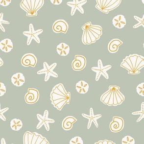 Boho Sea Shells in Sage Green and Golden Yellow Ocean Beach Summer Starfish