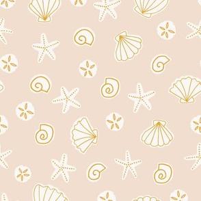 Boho Sea Shells in Sand Beige and Golden Yellow Ocean Beach Summer Starfish