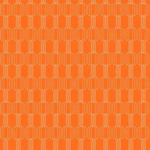 Lines intertwined - peach on orange