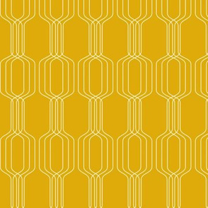 Lines intertwined - pearl on galliano yellow