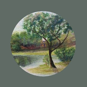 Vintage painting - Landscape Embroidery, lake, tree, water reflections