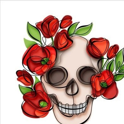 Continuous line skull with poppies