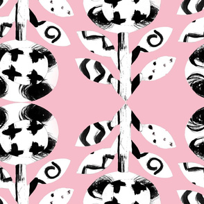 Pattern flower on cheerful pink