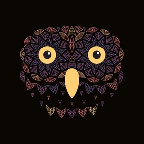Owl Embroidery Template Warm Colors on Black