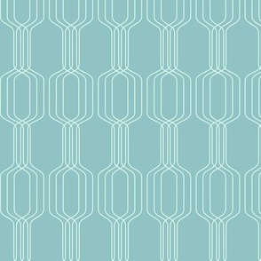 Lines intertwined - Frosted mint on Shadow green