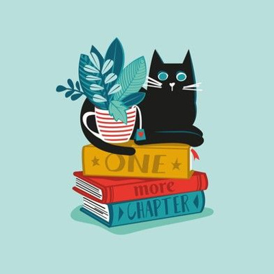 One more chapter // embroidery template // aqua background black cat striped mug with plants red teal and yellow books