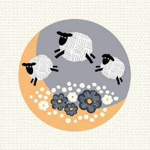 embroidery counting sheep jumping over the moon yellow and gray