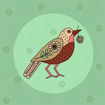 Bird embroidery template mint
