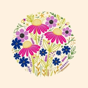 Coneflowers Embroidery Template 6in