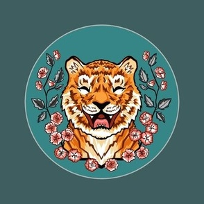 Boisterous, Blossoming, Tabby Tiger Template