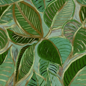 Messy Painted Tropical Leaves in Olive Green