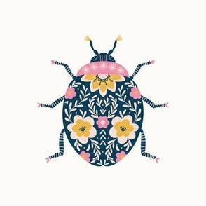 """Floral Ladybug Embroidery Template - pink and yellow (for 8"""" Swatch)"""