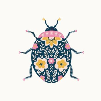 Floral Ladybug Embroidery Template - pink and yellow