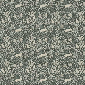 Jackalopes - antlered rabbits in the flowers - green - small scale