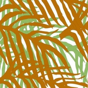 Layered tropical Leaves -green & brown