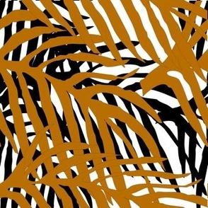 Layered tropical Leaves- black & brown