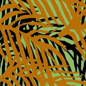 Layered tropical leaves - black, green a