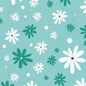 Summer Daisy - Floral Textured Light Aqua Large Scale