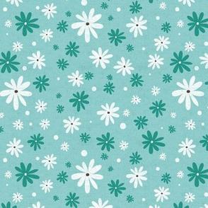 Summer Daisy - Floral Textured Light Aqua Regular Scale