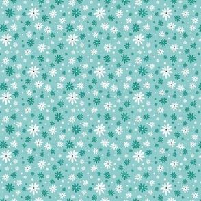 Summer Daisy - Floral Textured Light Aqua Small Scale