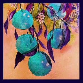"8"" x 8"" TILE UNDER THE BLUE ORANGES TREE PSMGE"