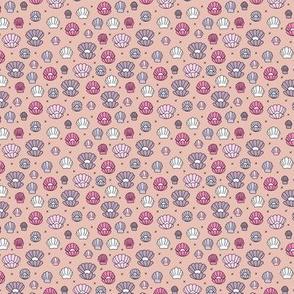 Deep sea shells and pearls mermaid theme ocean shell illustration girls pink lilac girls TINY