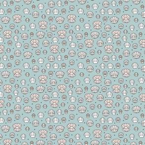 Deep sea shells and pearls mermaid theme ocean shell illustration blue gray beige sand TINY