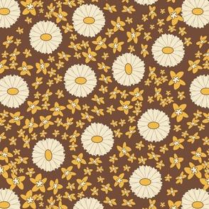Retro colours flower print