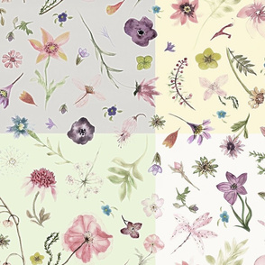 hand drawn flowers softer patchwork
