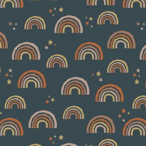 Paper cut rainbows and stars sweet dreams neutral nursery kids charcoal brown orange