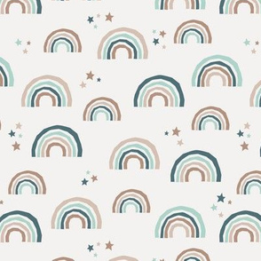 Paper cut rainbows and stars sweet dreams neutral nursery kids ivory blue mint beige neutral boys