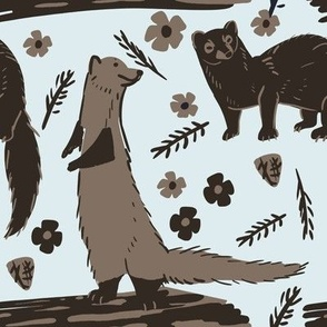 Fisher Marten Pattern Brown and light blue
