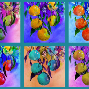 """8"""" tiles CHECKERBOARD UNDER THE ORANGE TREE CHEATERQUILT TURQUOISE PSMGE"""