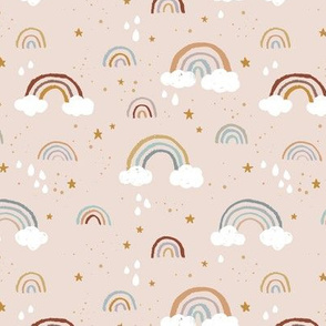 Rainbows clouds and golden stars and raindrops sweet boho style nursery baby design neutral blush beige blue orange