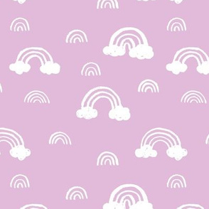 Rainbows clouds minimalist sweet boho style nursery baby design hot pink white girls