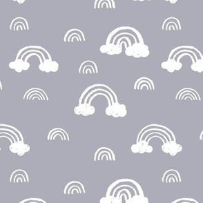 Rainbows clouds minimalist sweet boho style nursery baby design cool gray white