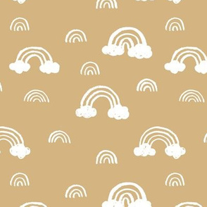Rainbows clouds minimalist sweet boho style nursery baby design mustard yellow ochre