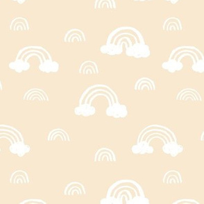 Rainbows clouds minimalist sweet boho style nursery baby design soft baby blue white pastel
