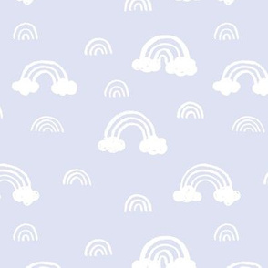 Rainbows clouds minimalist sweet boho style nursery baby design soft pastel lilac white