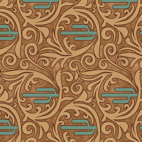 Wild West- Saguaro Tooled Leather Pattern- Verdigris Wheat Brown Leather Texture- Regular Scale- Rotated