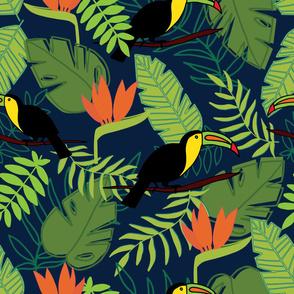 large jungle botanical toucan print