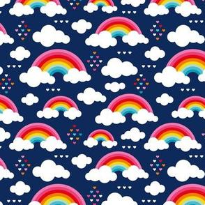 Cloudy night blue sky rainbow dreams and hearts navy blue multi color